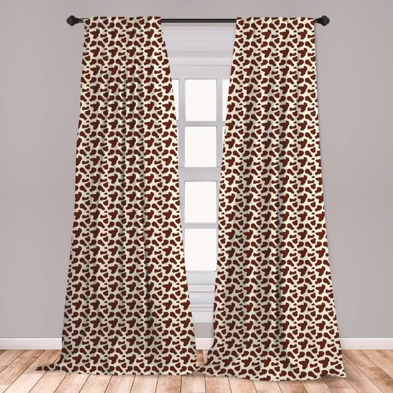 cow print camouflage room darkening rod pocket curtain panels