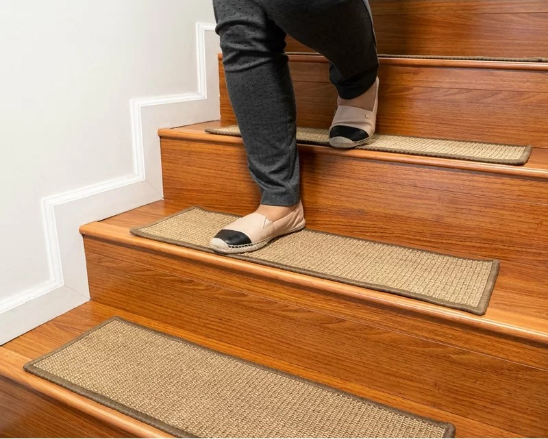 Latitude Run Borrello Catania Serged Border Handmade Stair Tread   Carpet On Stairs Only   Concept   Line Carpet Staircase Double   Pinstripe Grey   Grey   Wood