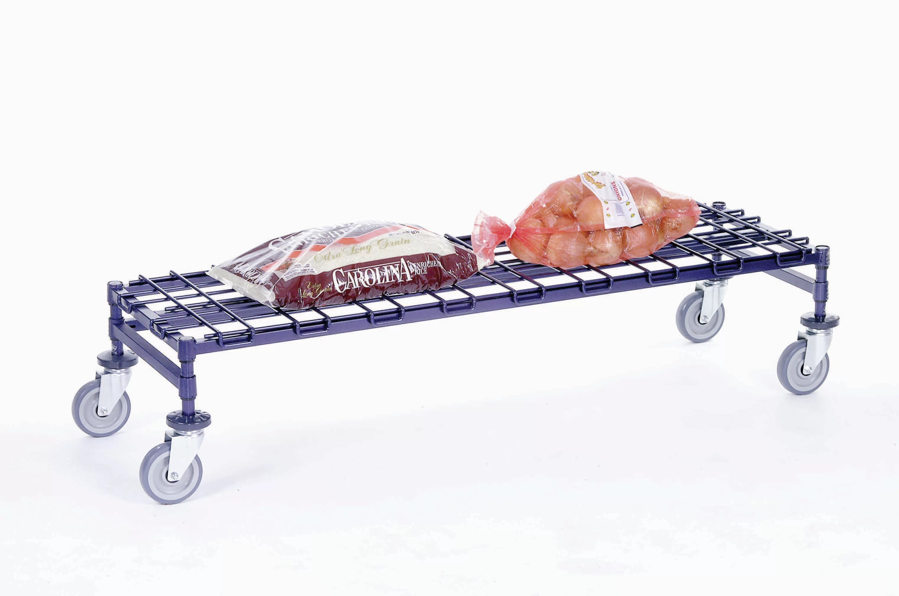 mobile dunnage rack with 2 braking casters
