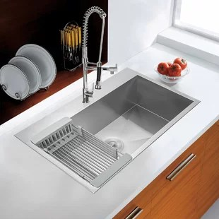 drop in kitchen sink with basket strainer