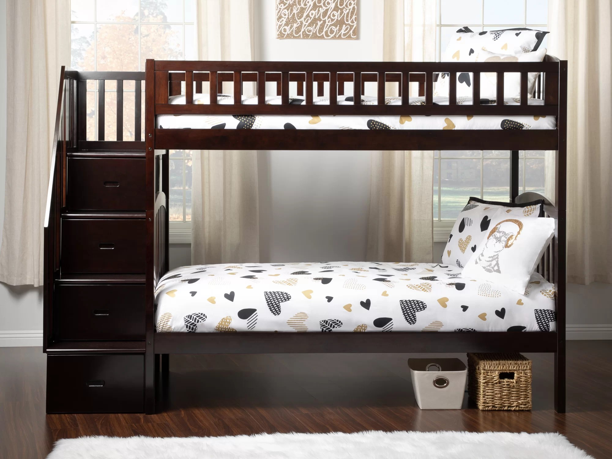 Harriet Bee Salem Staircase Twin Over Twin Bunk Bed With Drawers Wayfair