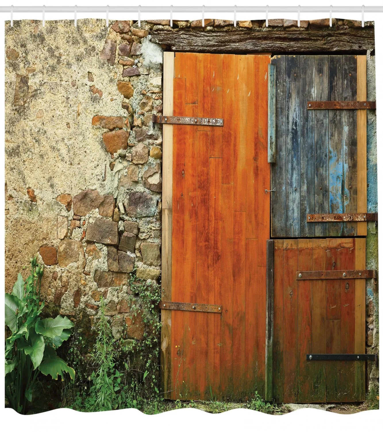 old french wooden door shower curtain set