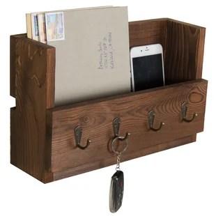 catrinewoodwall key and mail organizer with key hooks and mail storage