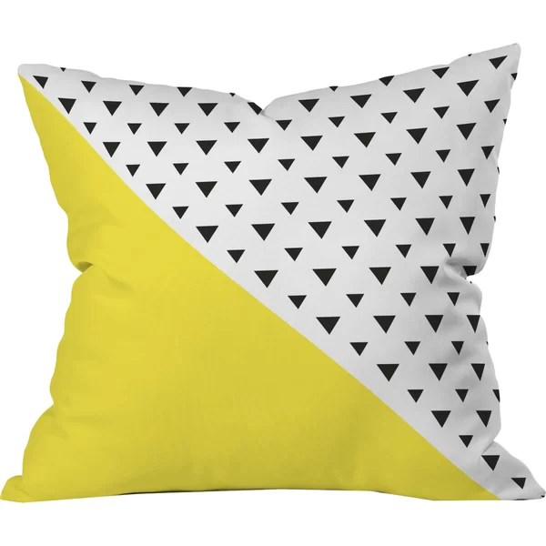 chartreuse n triangles outdoor throw pillow