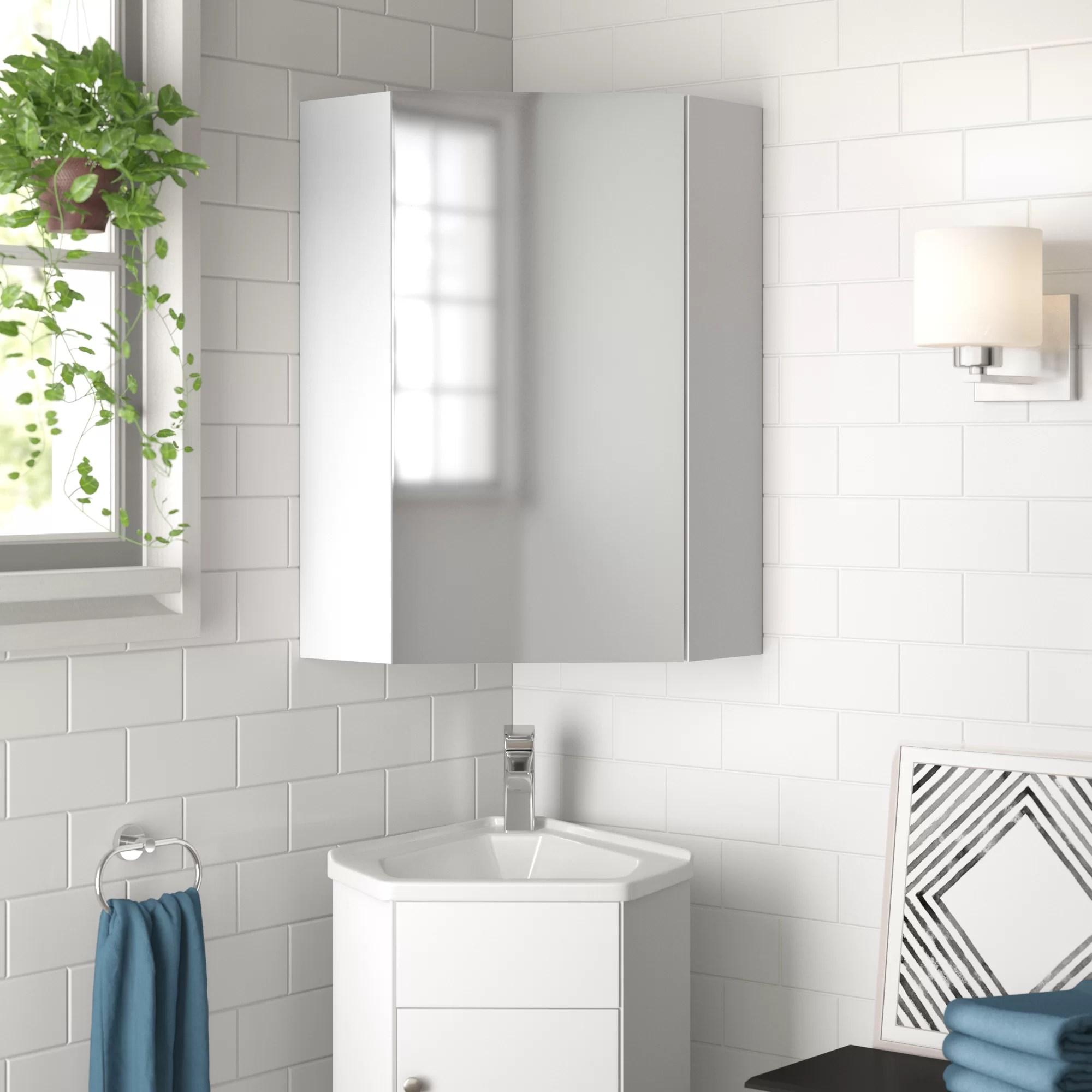 Zipcode Design Bluffton 14 X 23 5 Corner Mount Medicine Cabinet Wayfair