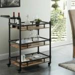 17 Stories Nickolas Rustic 3 Tier Wood And Metal Bar Cart Wayfair