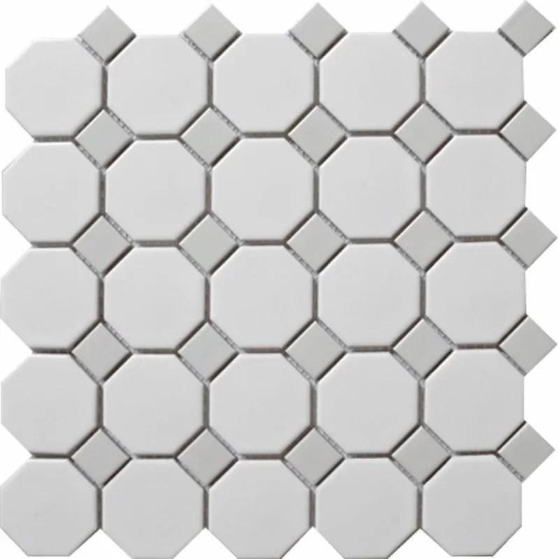 cascade random sized porcelain octagon and dot mosaic wall floor tile