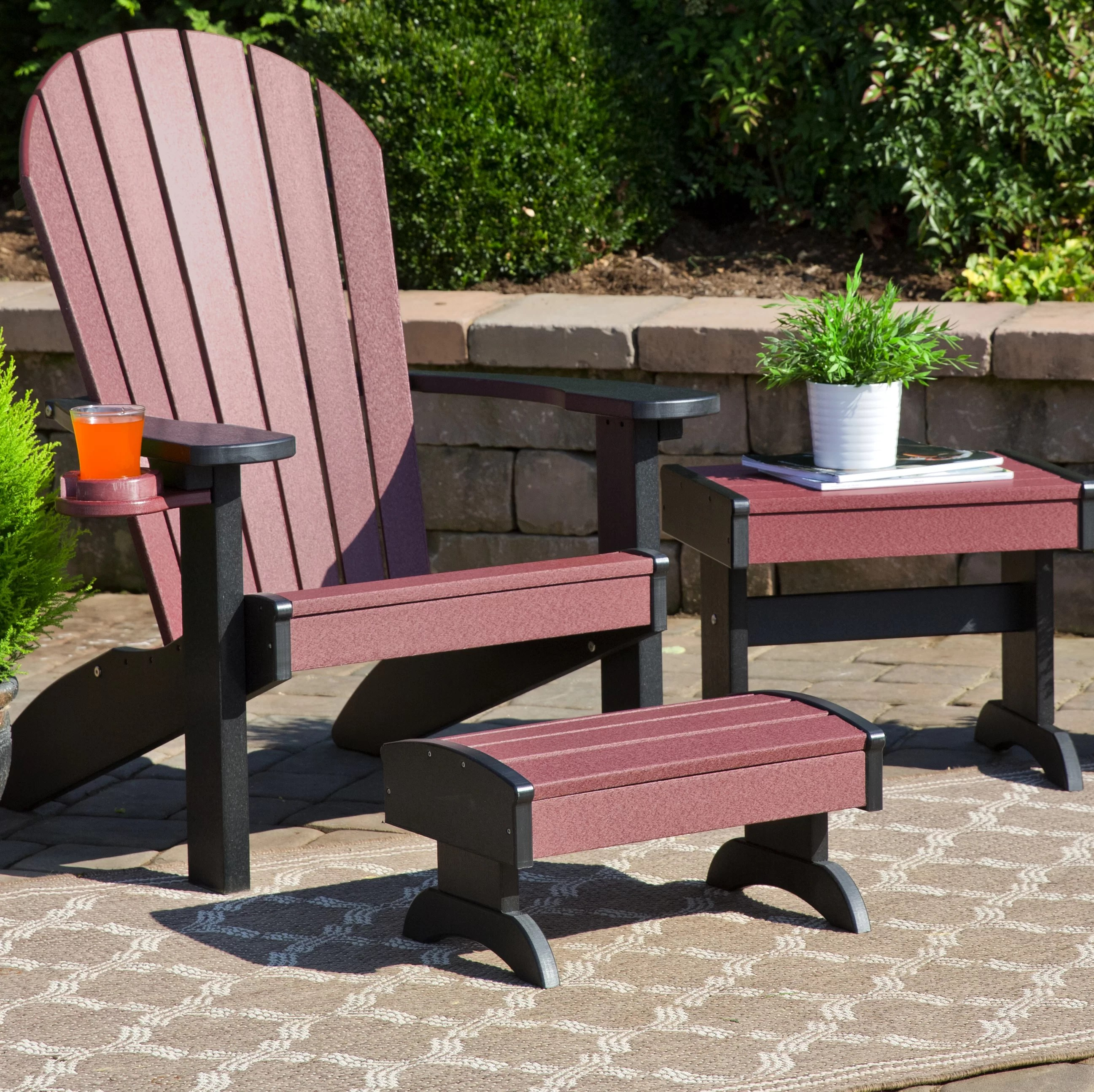 kells plastic adirondack chair set with ottoman and table
