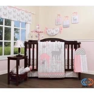 risinger baby girl deer family nursery 12 piece crib bedding set