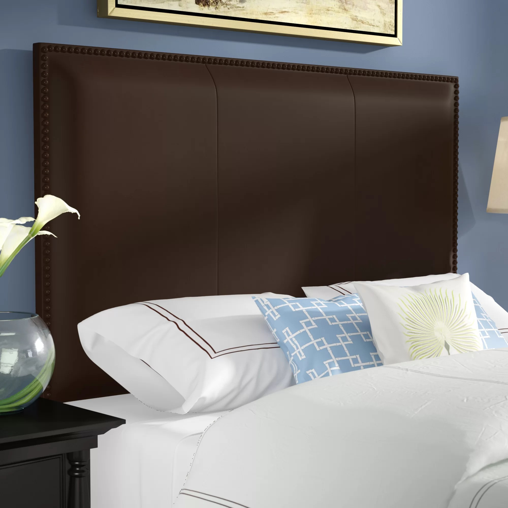 sacha leather upholstered panel headboard