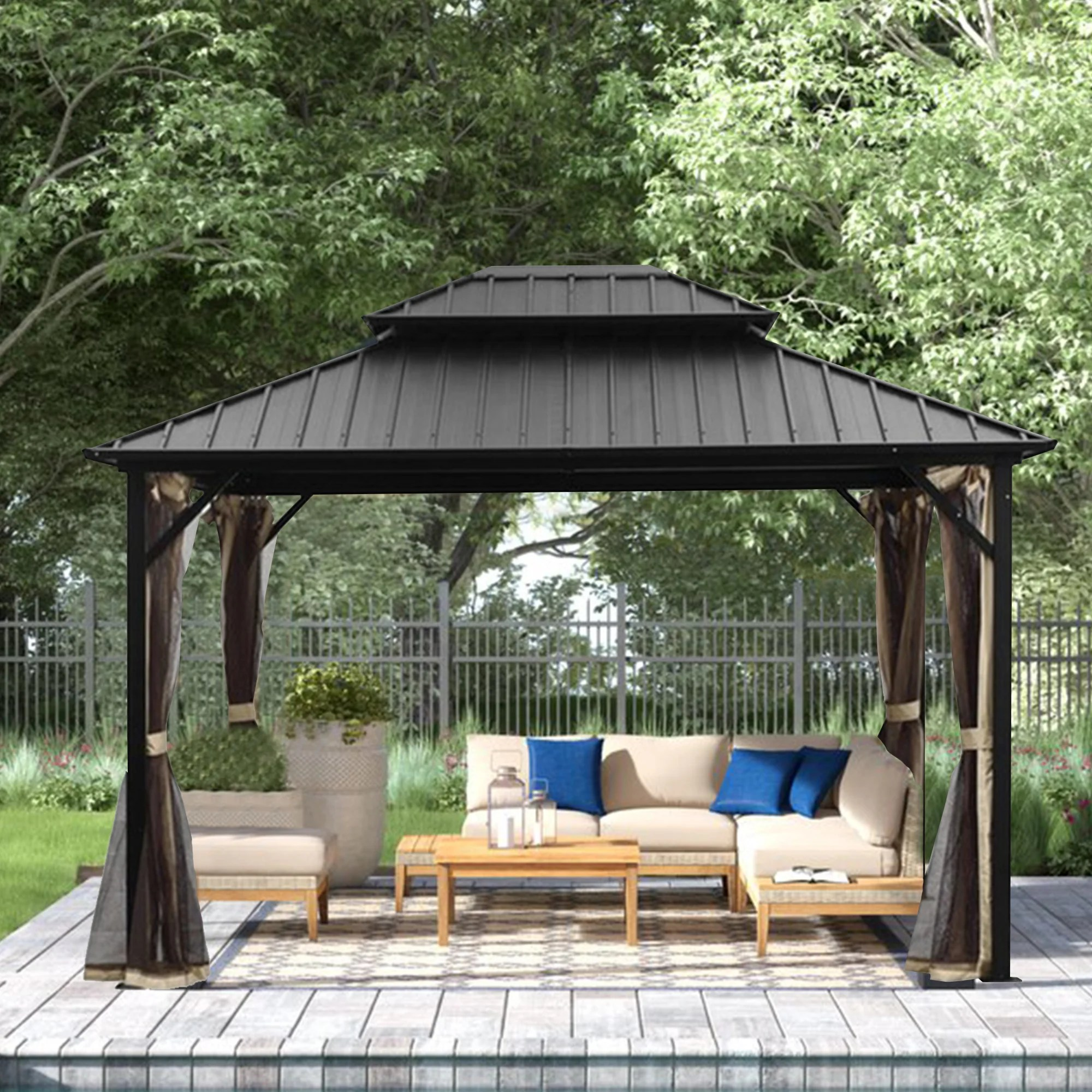10x12 ft double hardtop gazebo with mosquito netting for patios steel top and aluminum frame