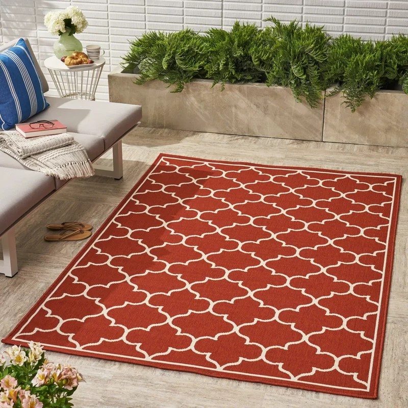 eliga geometric red indoor outdoor area rug