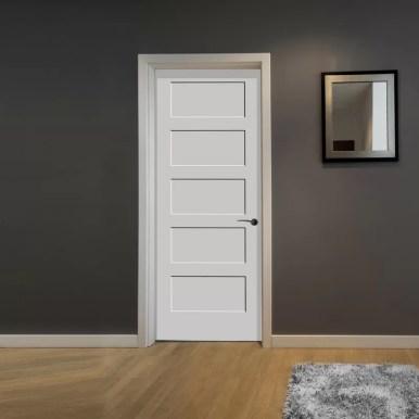 Paneled Solid Wood Primed Equal Interior Shaker Standard Door