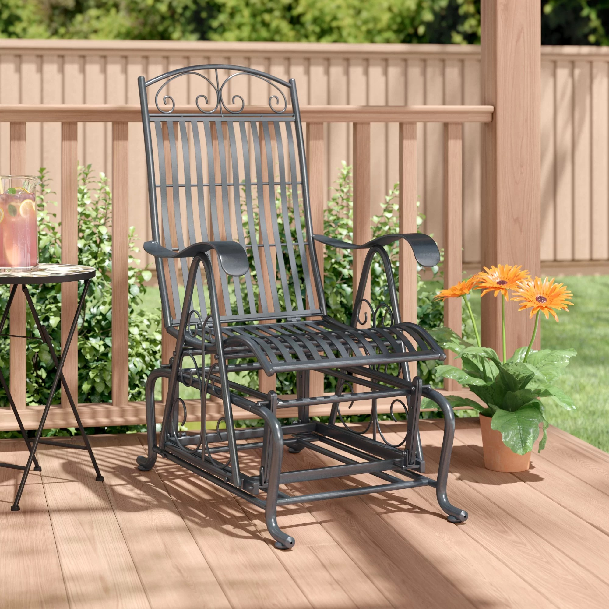 nocona iron single patio glider chair