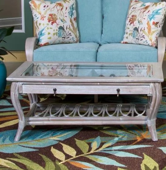 glass top display coffee table with drawers