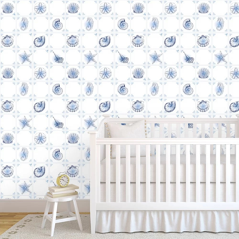 Peel And Stick Removable Wallpaper Seashells Modern Home Decor Seashell Ocean