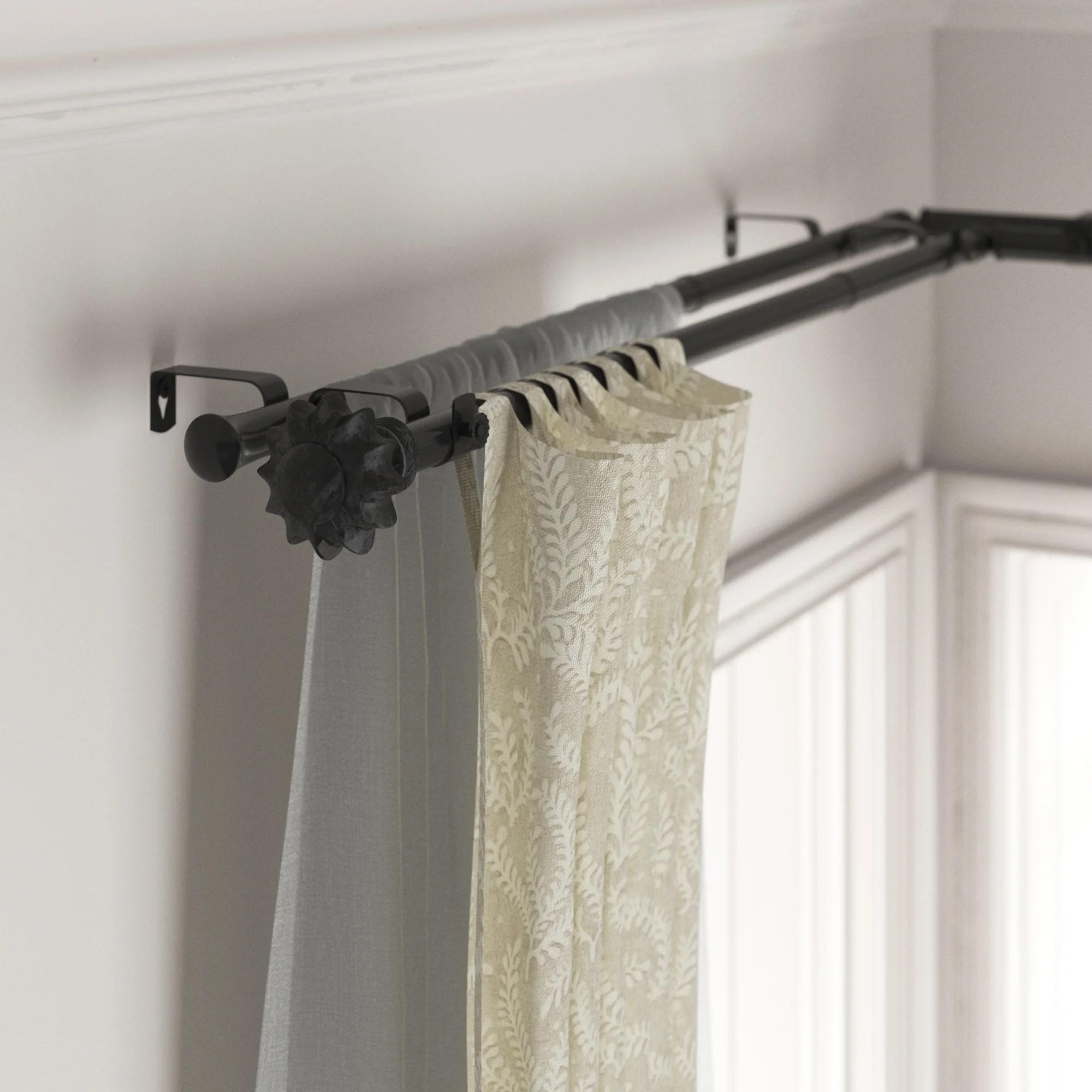 madge corner window curtain double rod hardware set