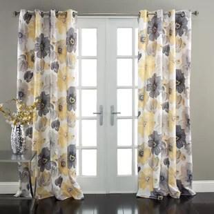 sikora floral room darkening thermal grommet curtain panels set of 2