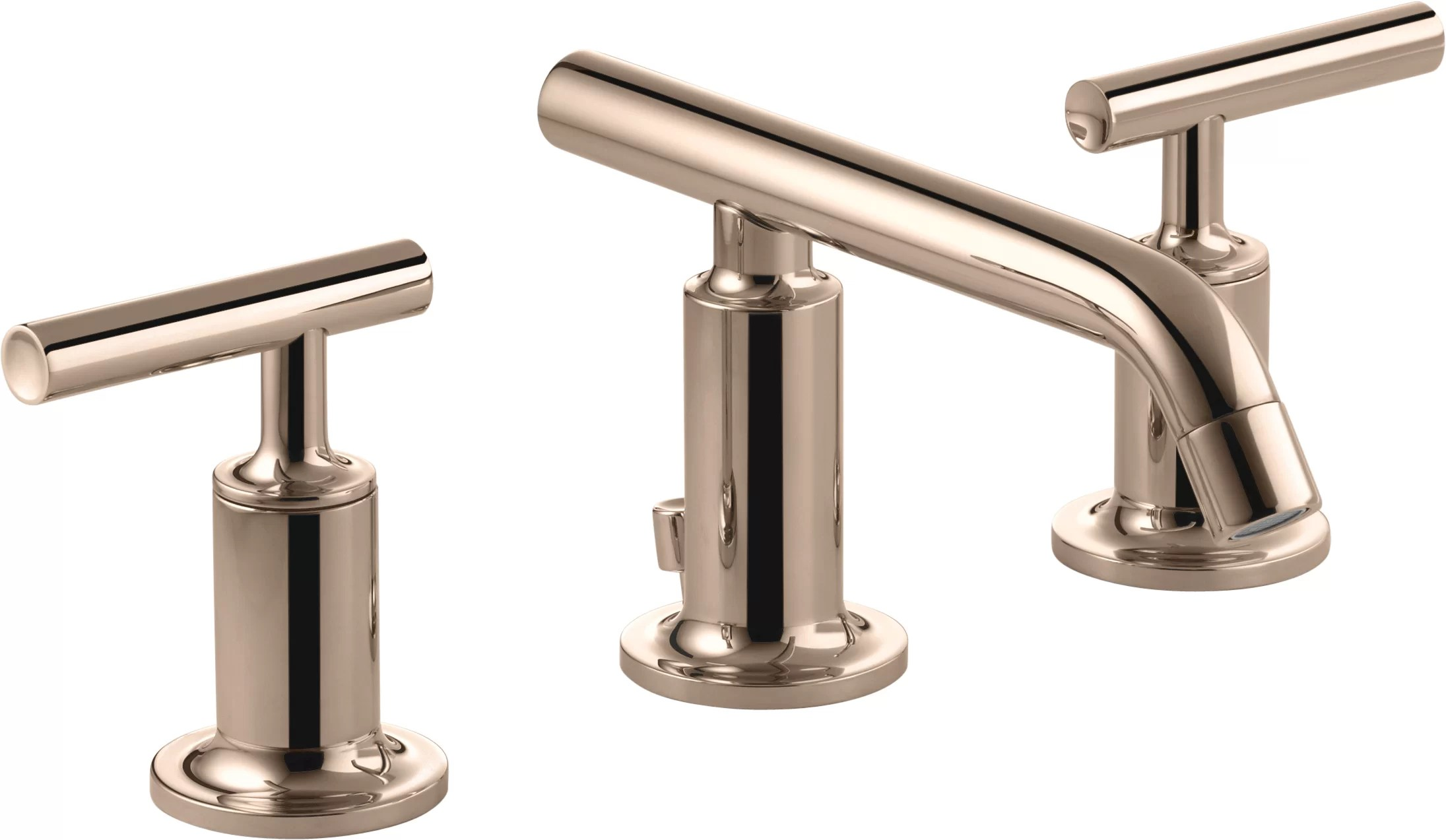 kohler purist widespread bathroom sink faucet with low lever handles and low spout
