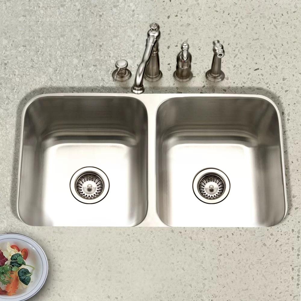 eston 31 25 l x 17 75 w undermount 50 50 double bowl kitchen sink