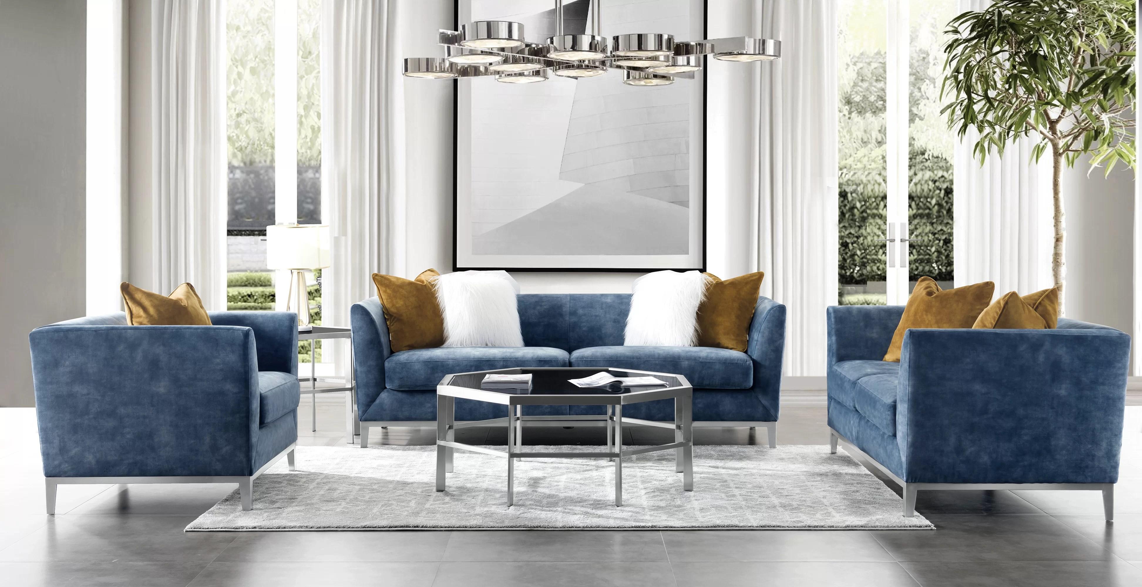 acanva mid century modern velvet 3 piece living room set