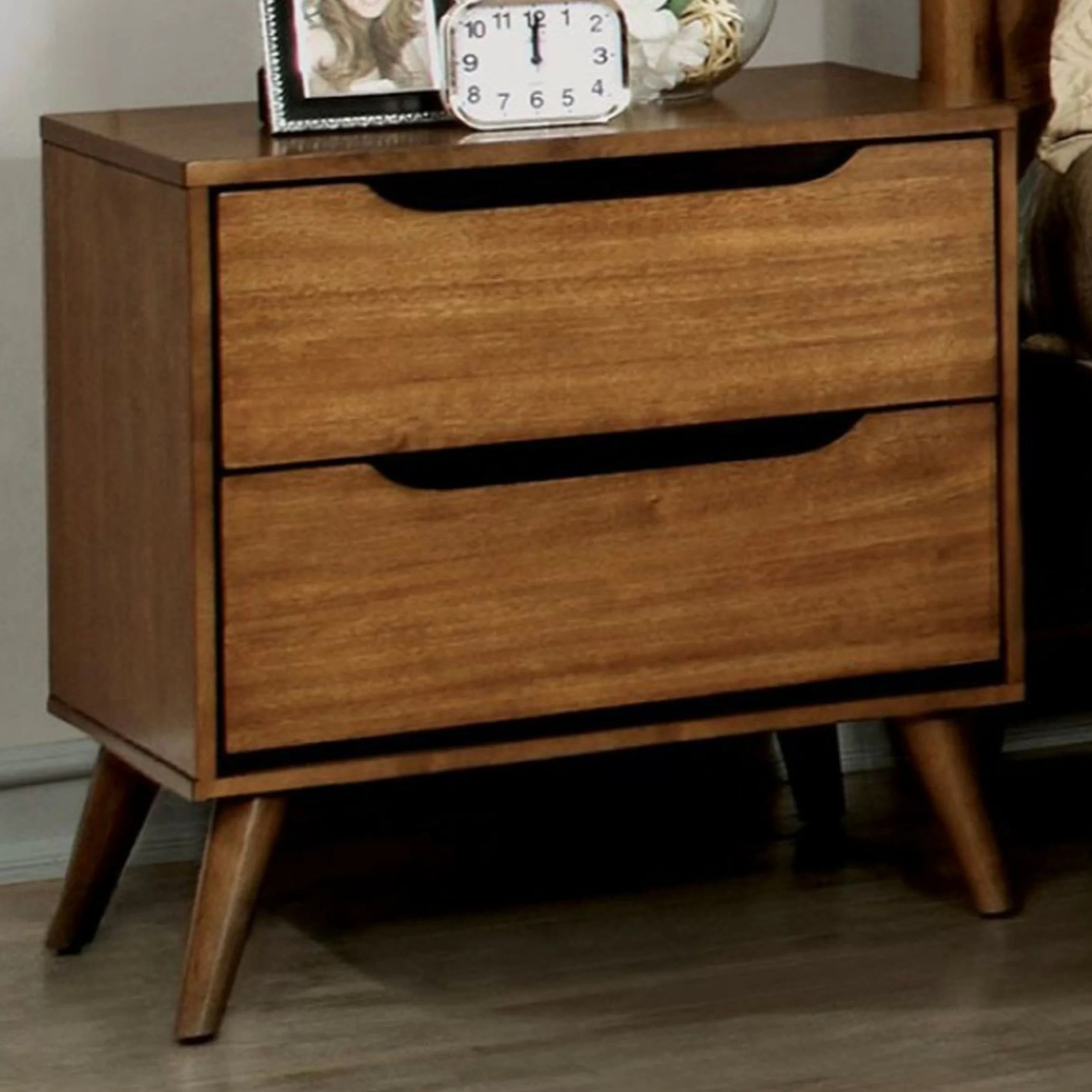 Mollie Mid Century 2 Drawer Nightstand