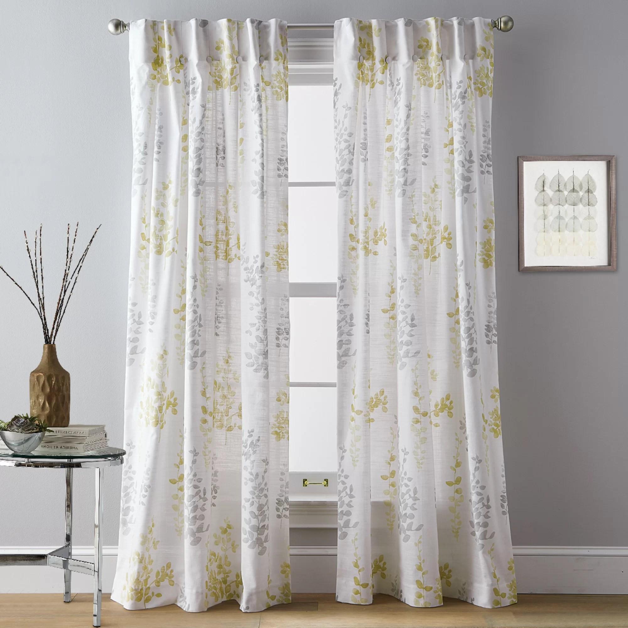 watercolor petunia 100 cotton floral sheer rod pocket curtain panelsel pair