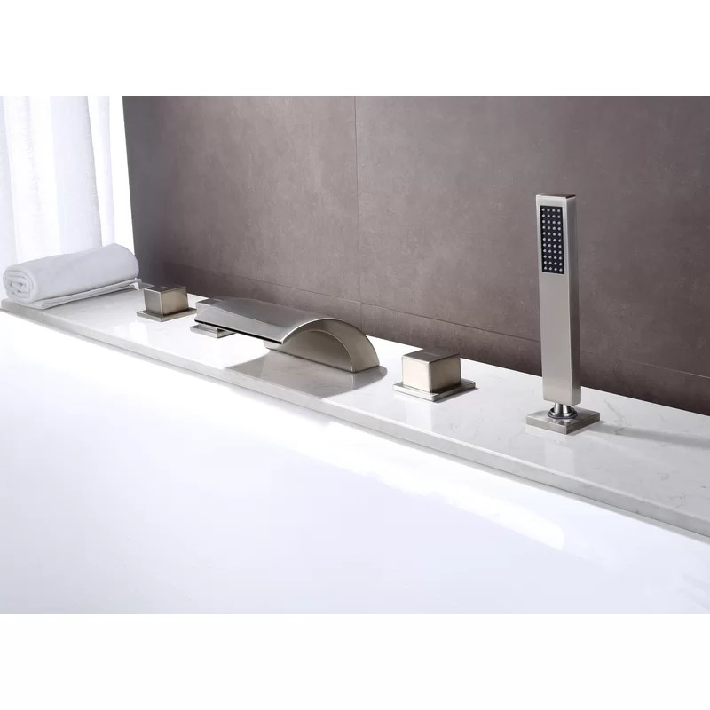 triple handle deck mounted roman tub faucet with diverter and handshower