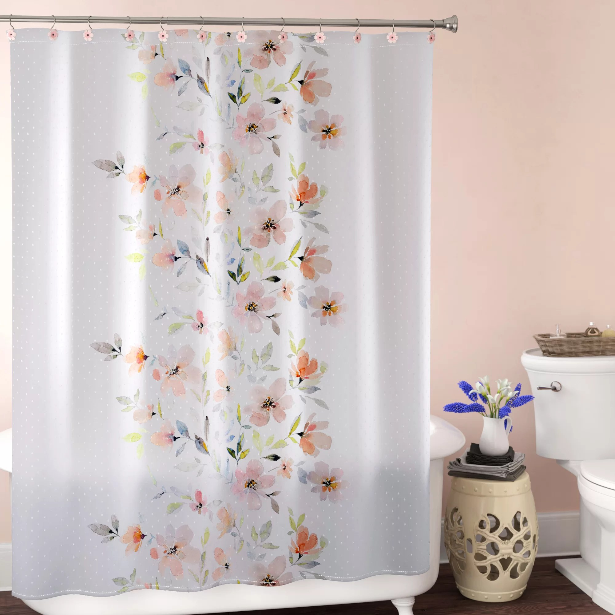 peach and gray shower curtain cheaper