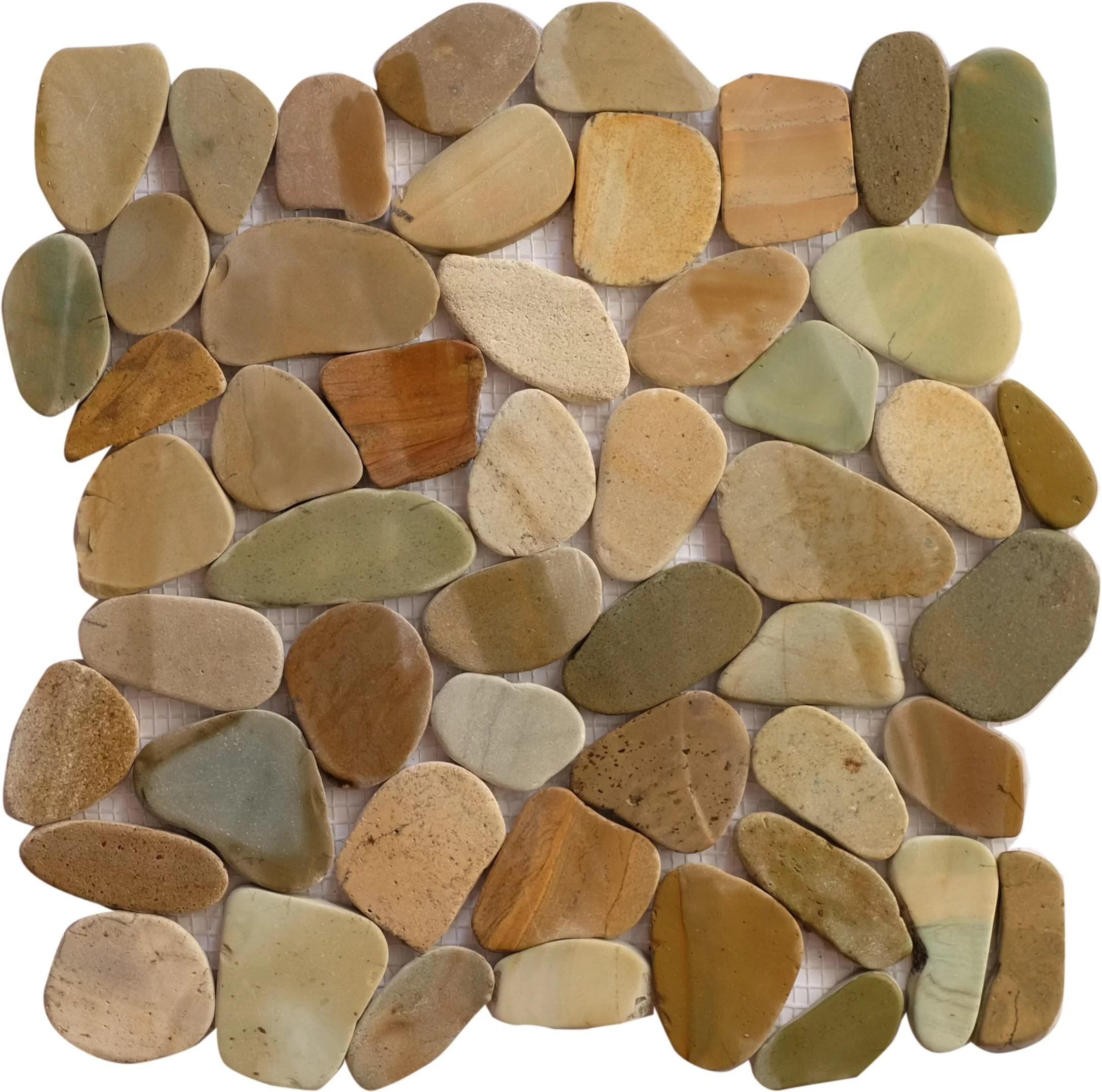bali mix random sized natural stone mosaic tile in brown tan