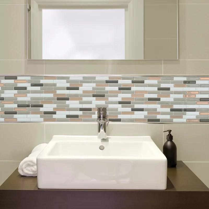 milenza9 x 10 gel peel stick mosaic tile