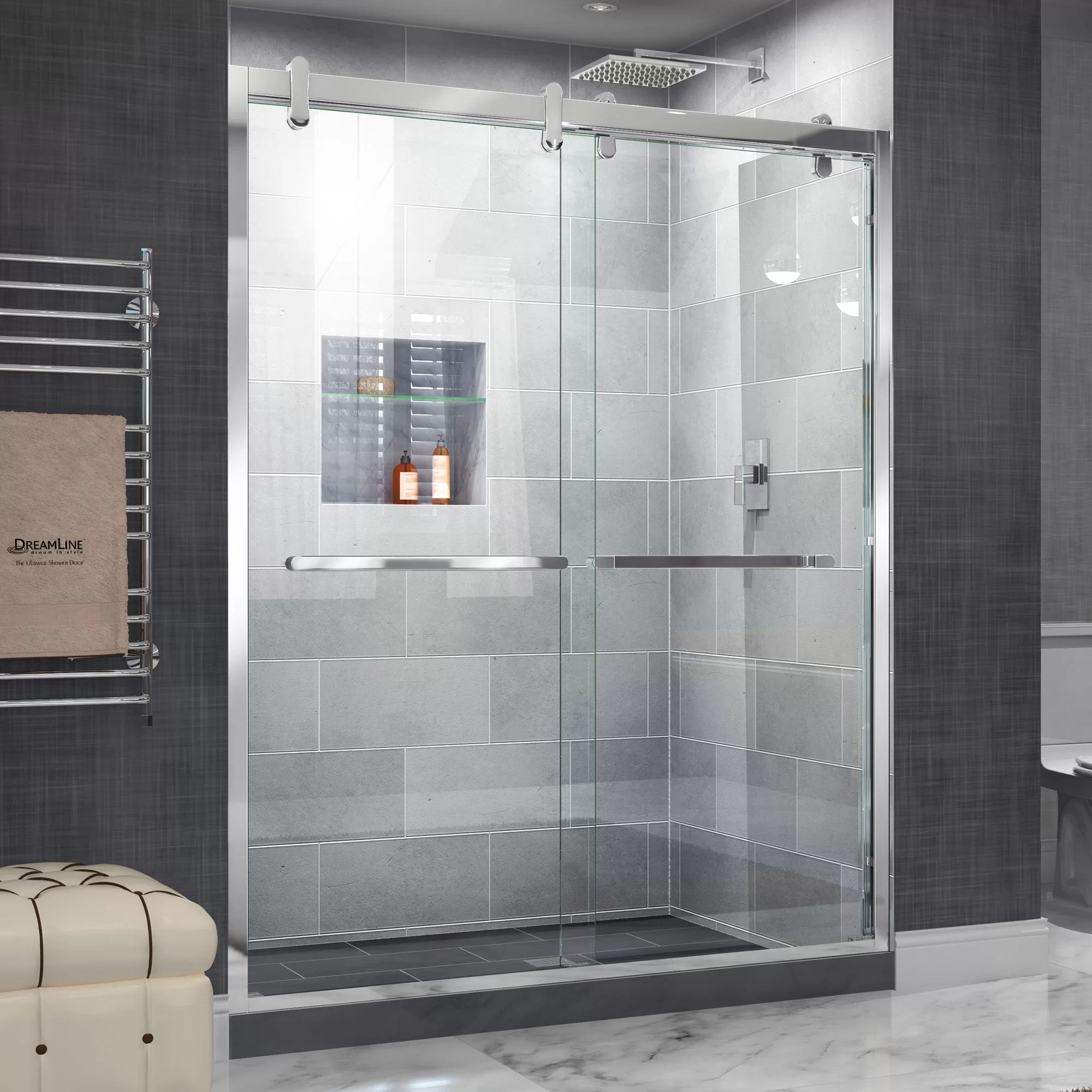 Cavalier 60 X 77 38 Bypass Semi Frameless Shower Door With Clearmax Technology