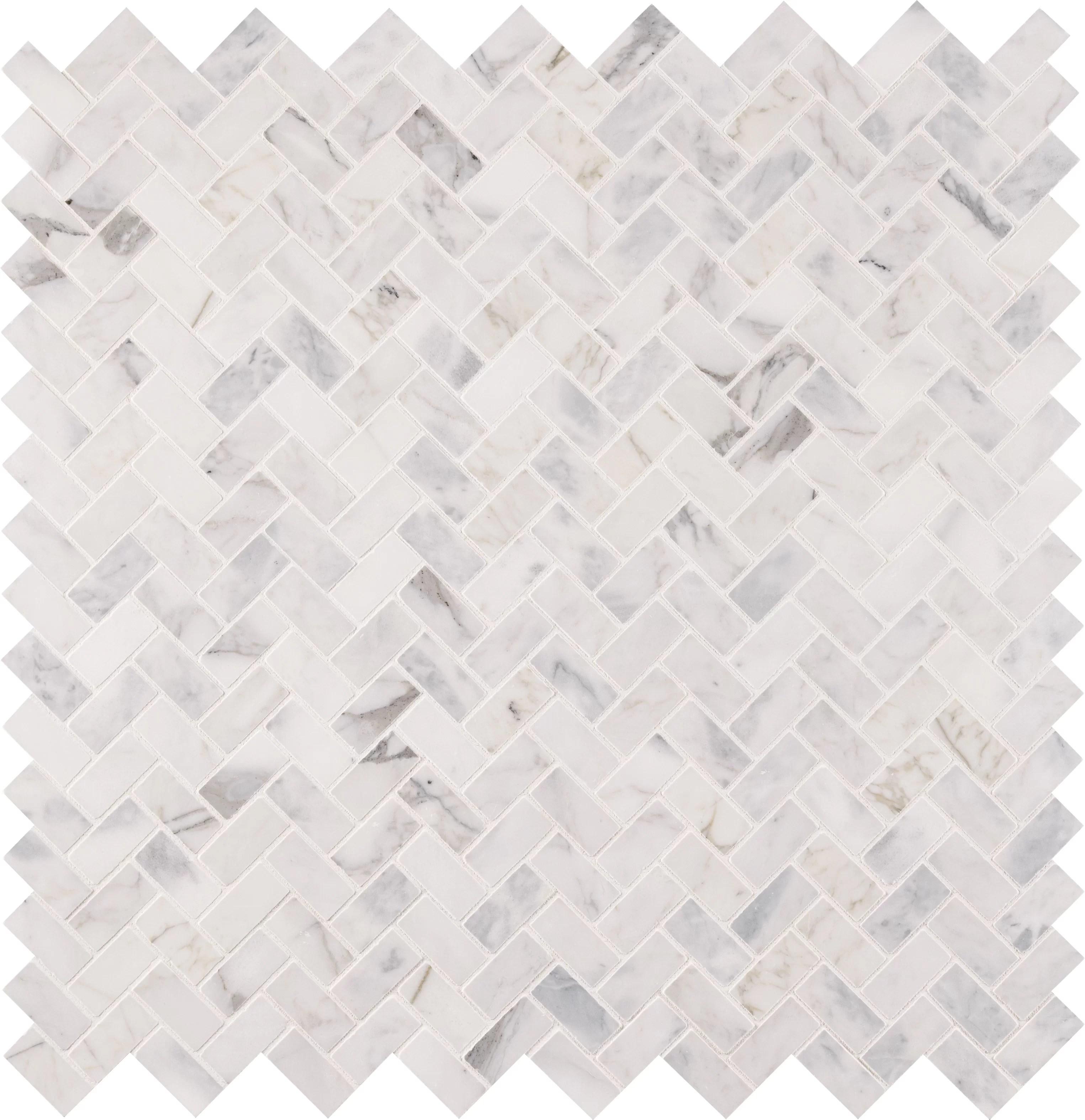 msi calacatta cressa 1 x 2 natural stone herringbone chevron mosaic wall floor tile reviews wayfair