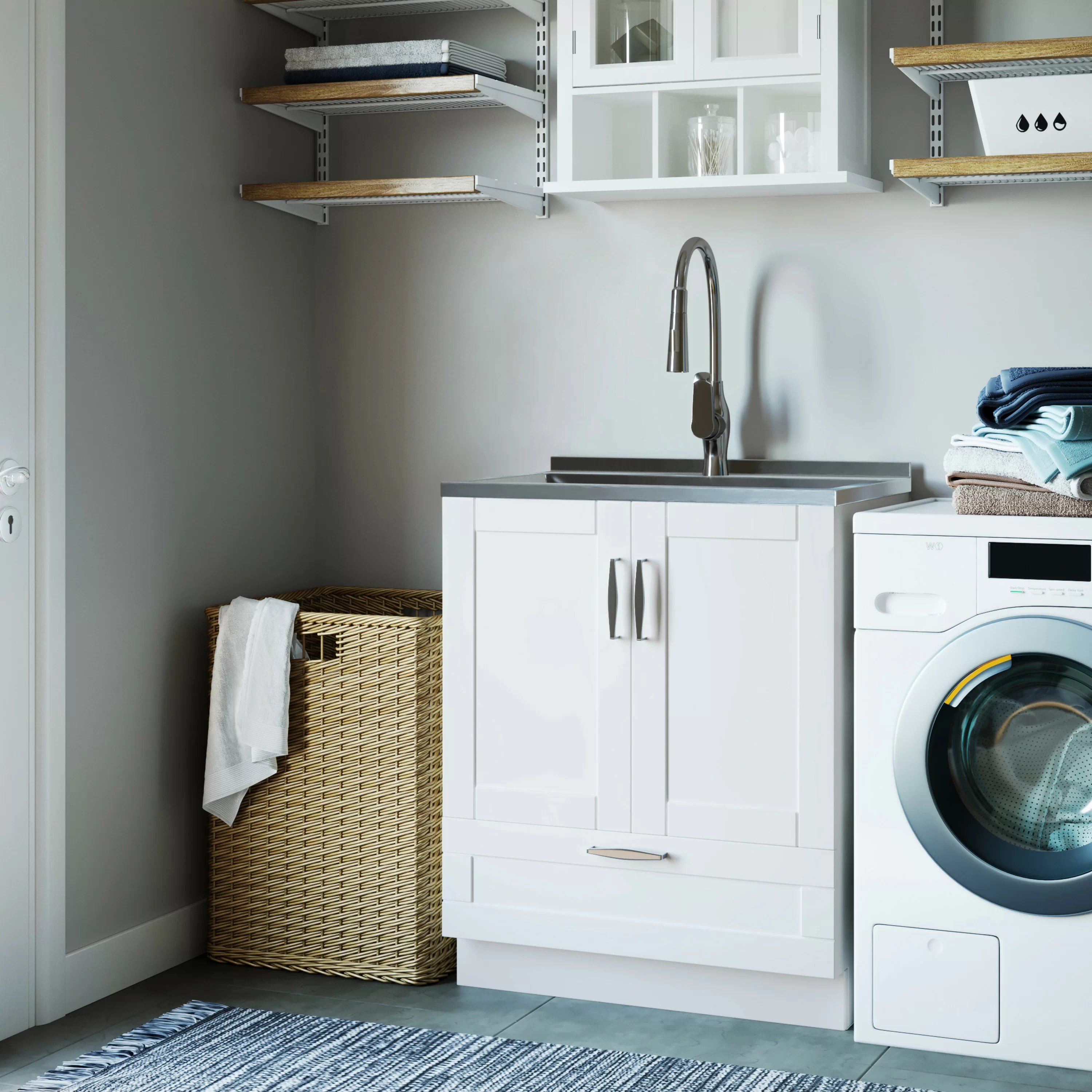 white bostick 28 x 19 freestanding laundry sink with faucet