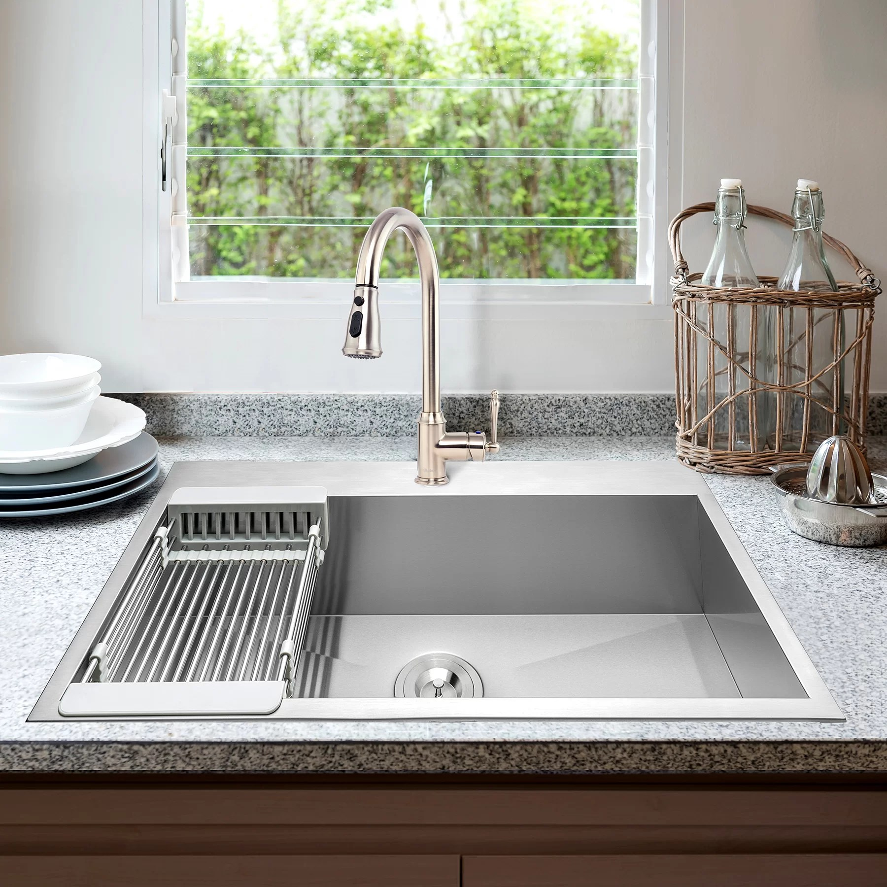33 l x 22 w drop in kitchen sink with faucet