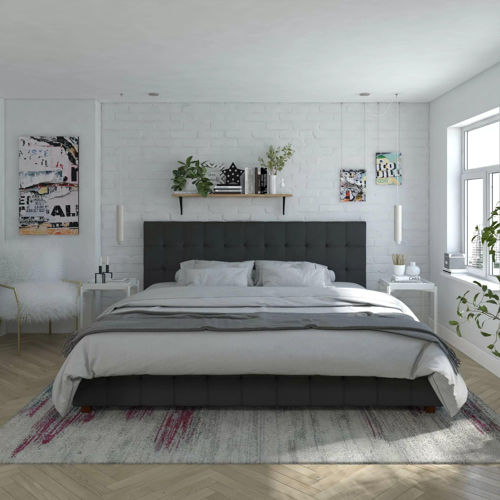 elizabeth tufted upholstered low profile storage platform bed
