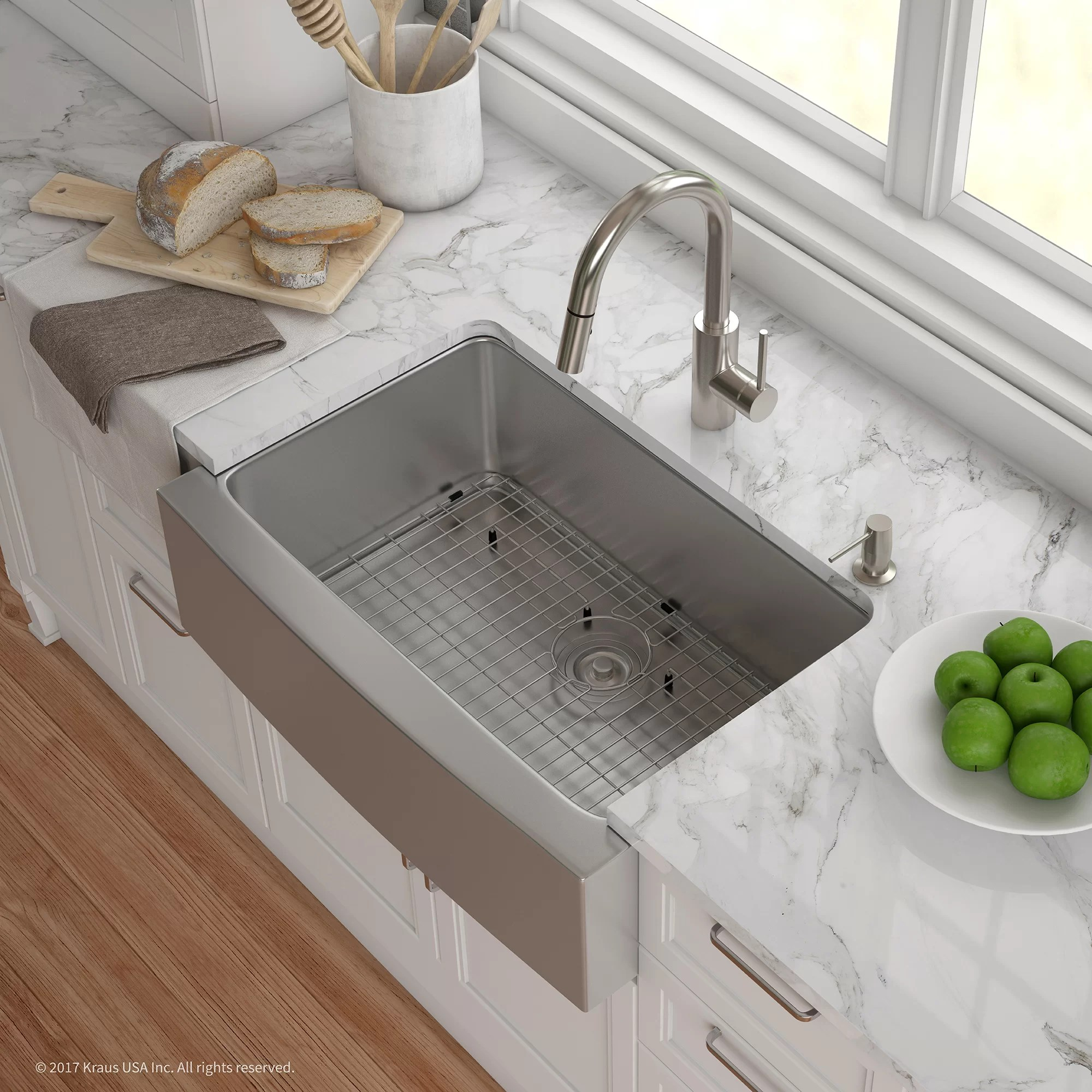 handmade series 29 75 l x 20 75 w farmhouse kitchen sink with faucet and soap dispenser