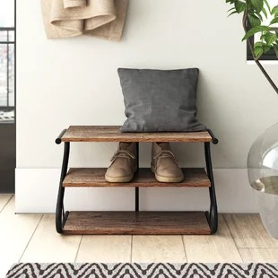 rustic z frame 3 level 9 pair shoe rack