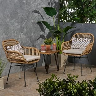 enger outdoor woven patio chair with cushion set of 2