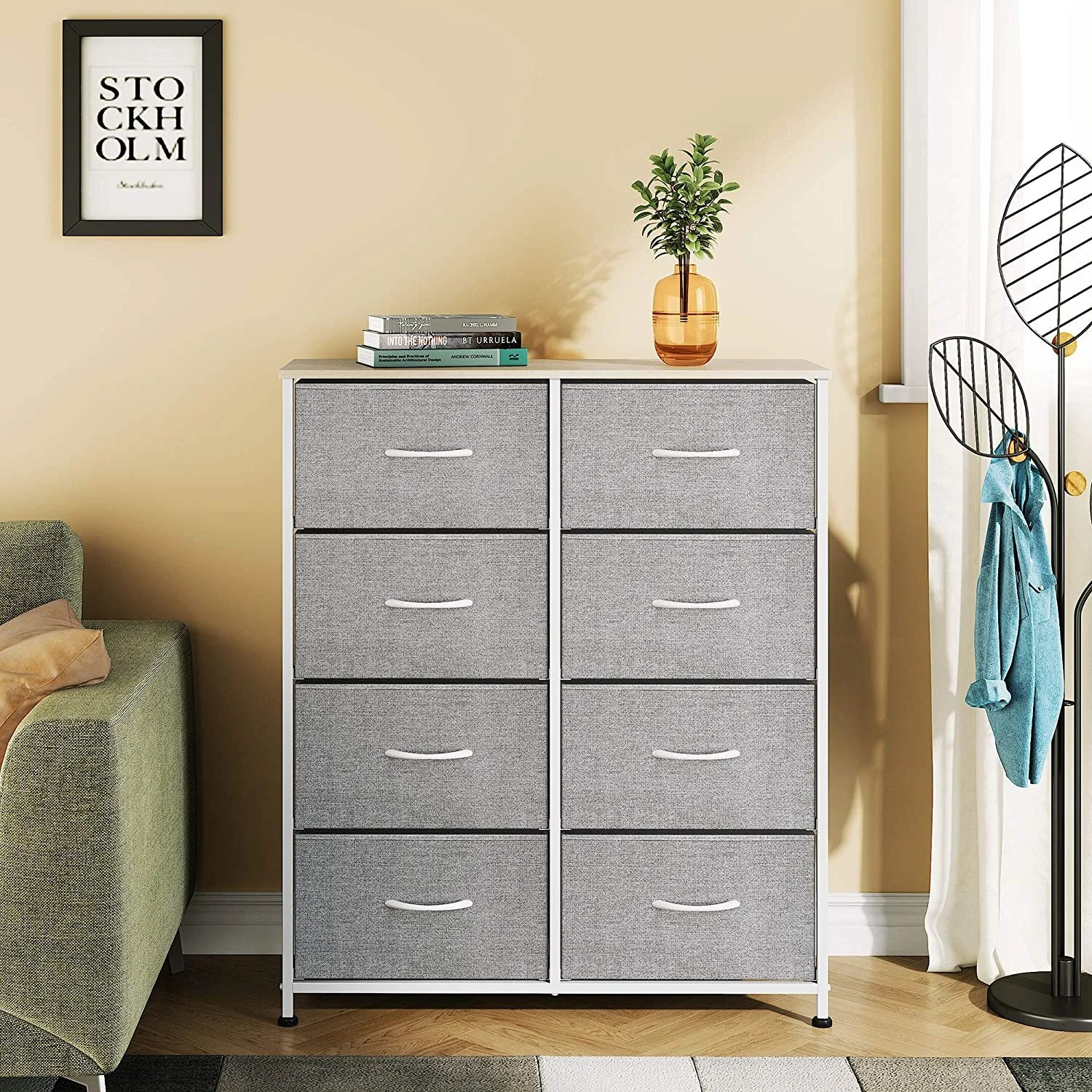 wlive vertical storage tower dresser with 8 easy pull fabric drawers sturdy metal frame wood tabletop easy pull handle organizer unit for