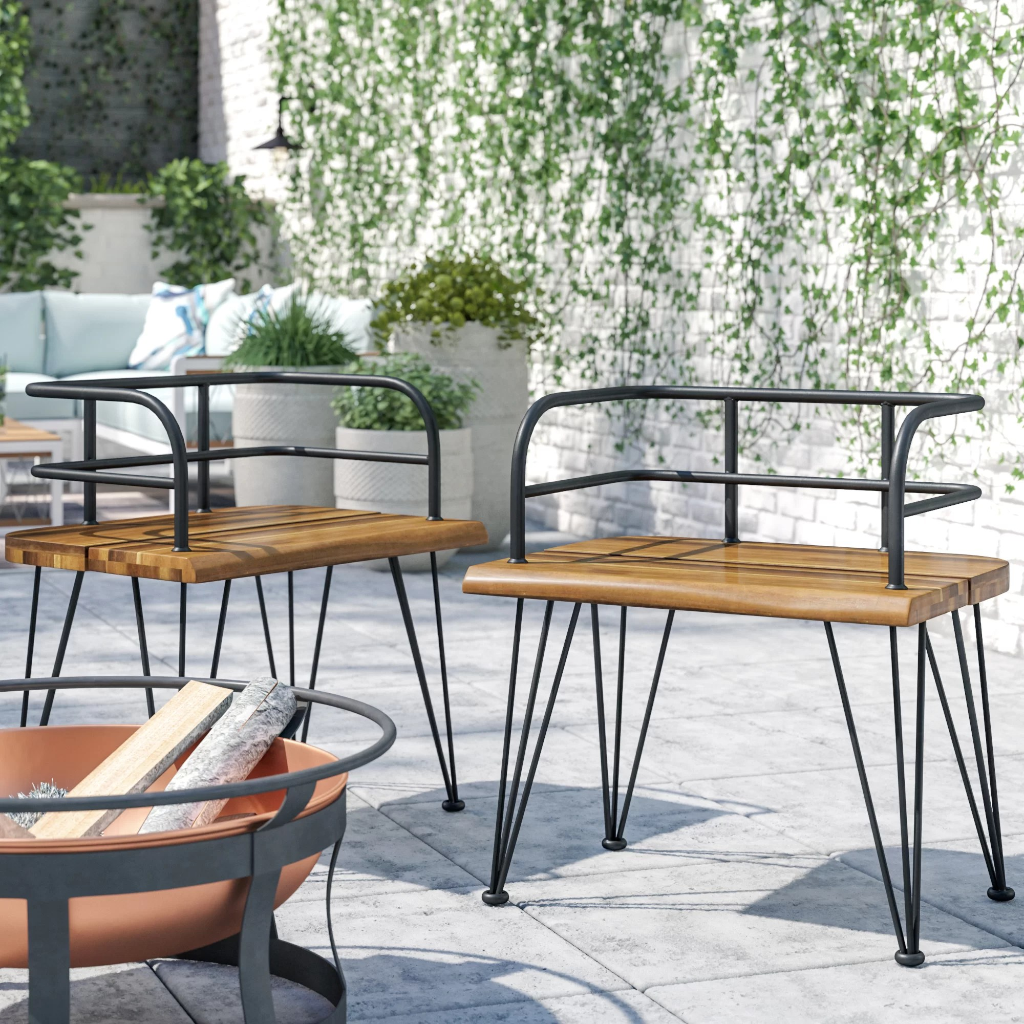 hansell outdoor industrial patio dining chair