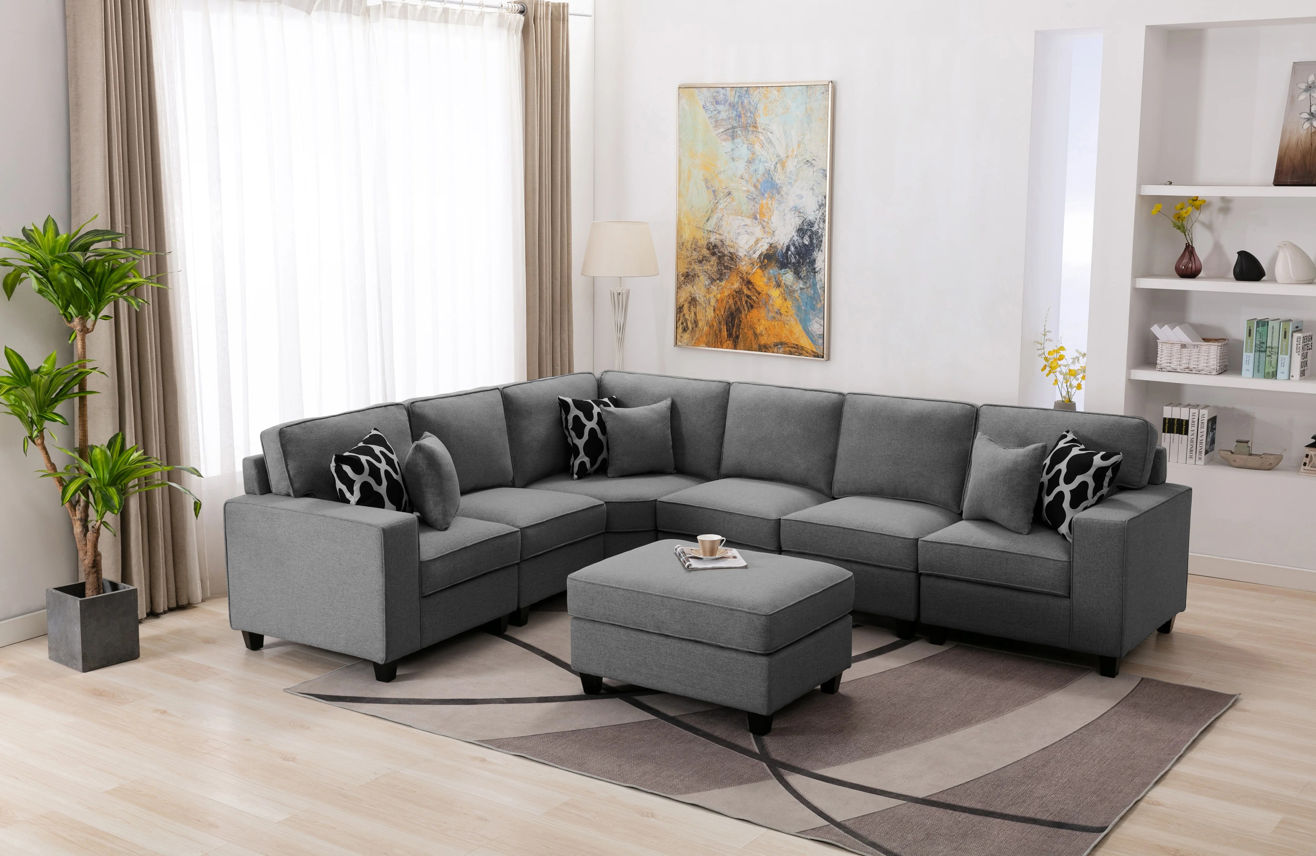 flexible combination sectional sofa with ottoman