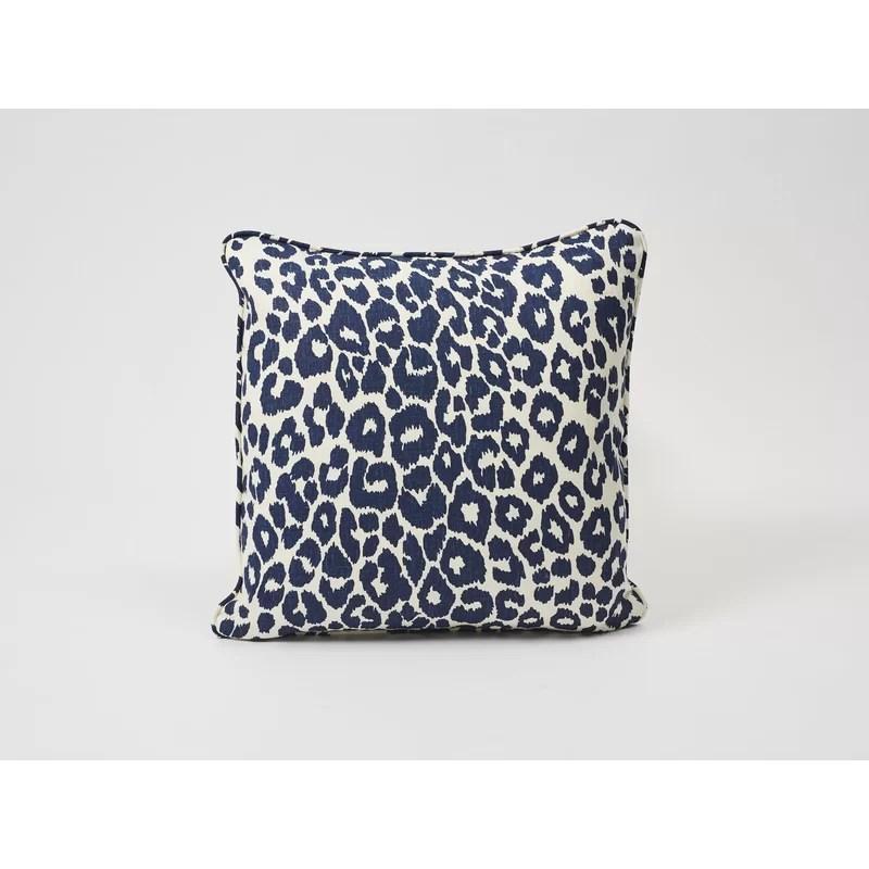 iconic leopard square linen pillow