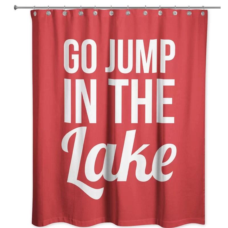 kristina go jump in the lake single shower curtain
