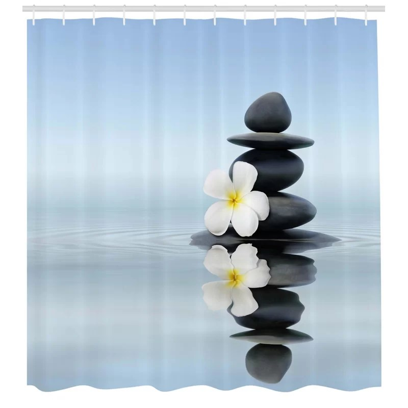 spa zen massage hot stones with asian frangipani plumera reflection on water shower curtain set