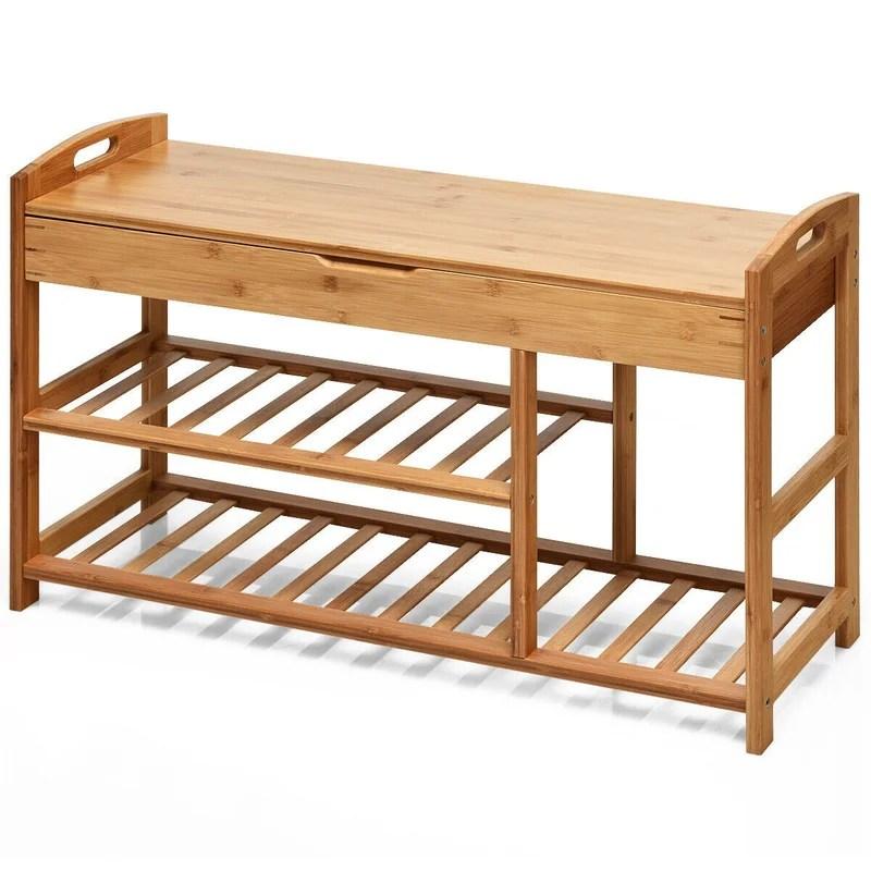 3 tier bamboo shoe storage bench