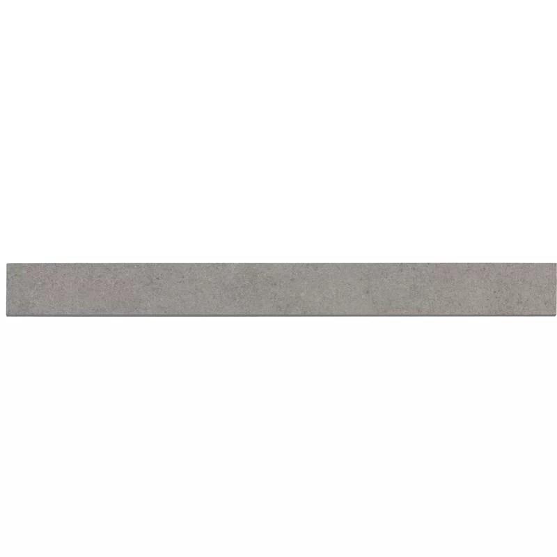 concerto 24 x 2 matte porcelain bullnose tile trim in gray