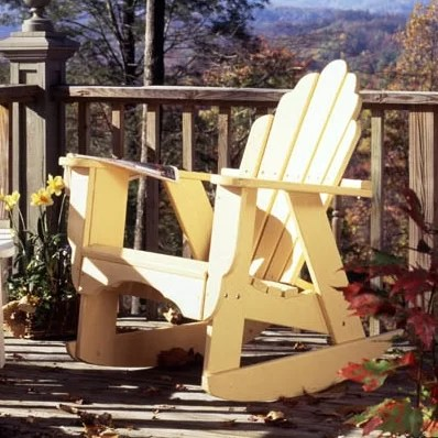 Fanback Wood Rocking Adirondack Chair