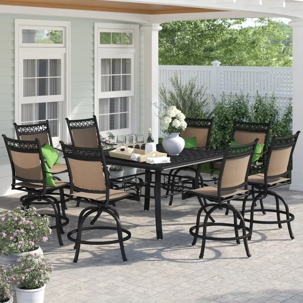 curacao square 8 person 60 long aluminum dining set