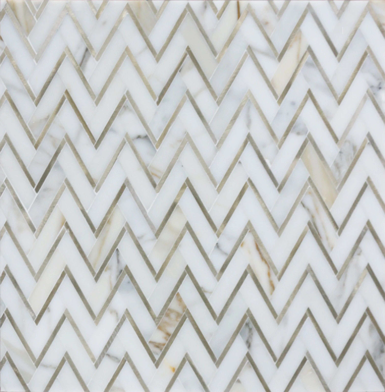 marble chevron mosaic wall